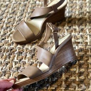 Cole Haan Cream Wrap Around Wedge Sandals 7